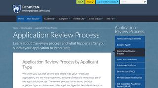 Application Review Process for Penn State - Undergraduate Admissions