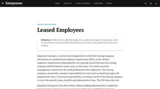 Leased Employees Definition - Entrepreneur Small Business ...