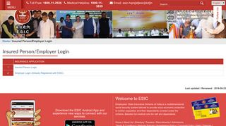 Insured Person/Employer Login | Employees' State Insurance ...