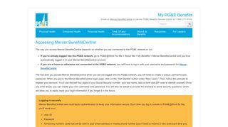Accessing Mercer BenefitsCentral - MyPGEBenefits