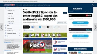 Sky Bet Pick 7 tips - How to enter the pick 7, expert tips and how to win ...