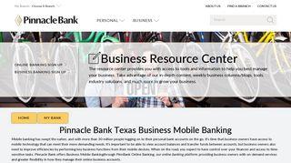 Pinnacle Bank Texas Business Mobile Banking | My Bank | Texas ...
