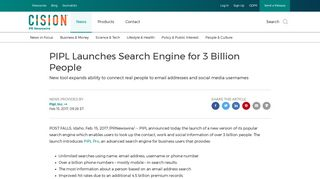 PIPL Launches Search Engine for 3 Billion People - PR Newswire
