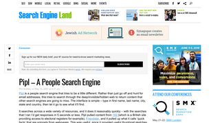 Pipl - A People Search Engine - Search Engine Land