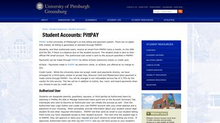 Student Accounts: PittPAY - Pitt-Greensburg - University of Pittsburgh