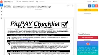 Checklist - Student Payment Center l University of Pittsburgh