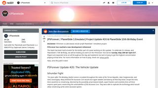 [PSForever / PlanetSide 1 Emulator] Project Update #20 ...