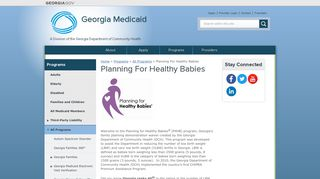 Planning For Healthy Babies | Georgia Medicaid