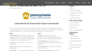 Working for the PLCB: A Job Guide for the Pennsylvania Liquor ...