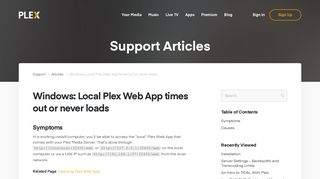 Windows: Local Plex Web App times out or never loads   Plex Support
