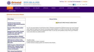 Renew Online - OICL - Oriental Insurance
