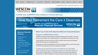 Transfer your CalPERS funds to Wescom Financial Services