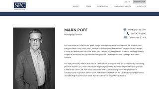 Mark Poff SPC Managing Director - Swander Pace Capital