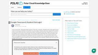 Google Classroom & Student Club Login! : Polar Cloud Knowledge Base