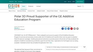 Polar 3D Proud Supporter of the GE Additive Education Program