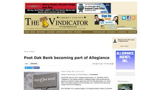 Post Oak Bank becoming part of Allegiance - The Vindicator: News