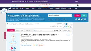 Post Office* Online Saver account - useless - MoneySavingExpert ...