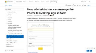 How admins can manage the Power BI Desktop sign-in form - Power ...