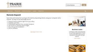 Remote Deposit - Prairie Community Bank