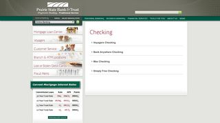 Personal Checking Services from Prairie State Bank and Trust