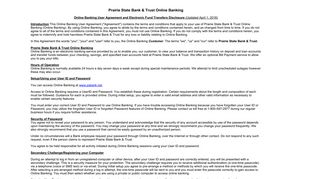 Internet Banking Terms and Conditions - Prairie State Bank and Trust