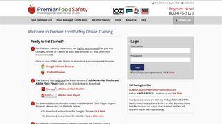 Online Login - Premier Food Safety