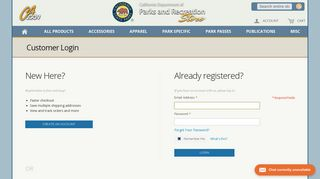 Login or Create an Account - California State Parks Online Store