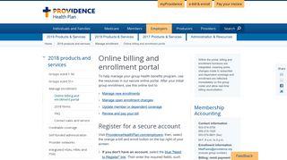 Online billing and enrollment portal - Providence Health Plan
