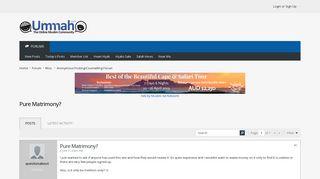Pure Matrimony? - Ummah.com - Muslim Forum