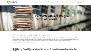 PureVPN Terms of Affiliate - Affiliate Program Terms of Service