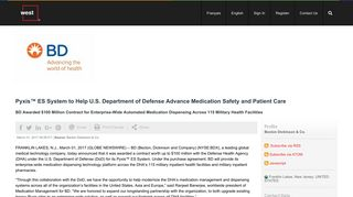 Pyxis™ ES System to Help U.S. Department of Defense Advance ...