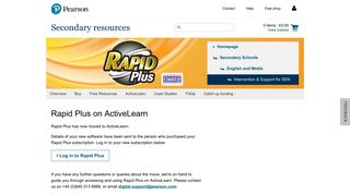 Rapid Plus ActiveLearn - Pearson Schools and FE Colleges