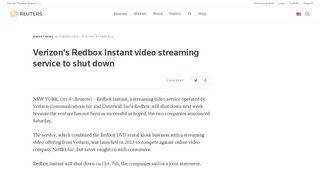 Verizon's Redbox Instant video streaming service to shut down   Reuters