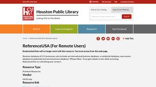 ReferenceUSA (For Remote Users) | Houston Public Library