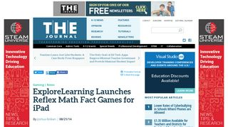 ExploreLearning Launches Reflex Math Fact Games for iPad -- THE ...