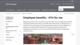 Employee benefits - KTH for me   KTH Intranet