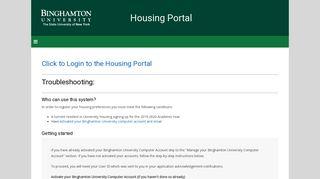 Housing Portal - Binghamton University
