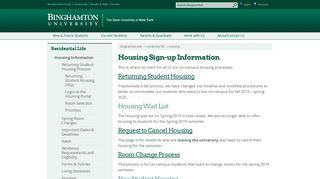 Binghamton University - Residential Life - Housing