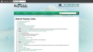 District Teacher Links | Reynolds School District - Oregon