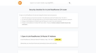192.168.1.1 - A-Link RoadRunner 24 Router login and password