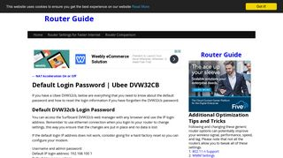Default Login Password | Ubee DVW32CB | Router Guide