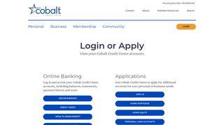 Login or Apply | Cobalt Credit Union