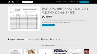 sag-aftra theatrical television audition sign-in sheet - Yumpu