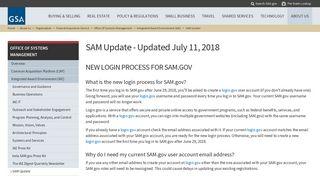 SAM Update - Updated July 11, 2018   GSA