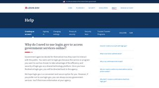 Why do I need to use login.gov to access government services online?