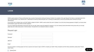 Login Request Form - Scottish Online Appraisal Resource