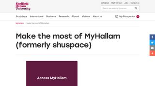 Make the most of MyHallam | Sheffield Hallam University