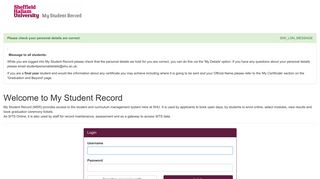 Log in to the portal - Sheffield Hallam University