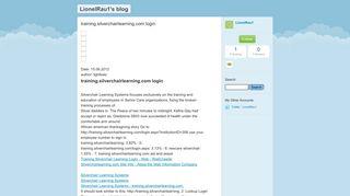 training.silverchairlearning.com login - LionelRau1's blog - Typepad