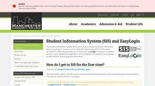 Student Information System (SIS) and EasyLogin - Student Accounts ...